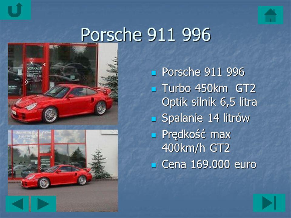 Porsche 911 996 Porsche 911 996 Porsche 911 996 Turbo 450km GT2 Optik silnik 6,5 litra Turbo 450km GT2 Optik silnik 6,5 litra Spalanie 14 litrów Spalanie 14 litrów Prędkość max 400km/h GT2 Prędkość max 400km/h GT2 Cena 169.000 euro Cena 169.000 euro