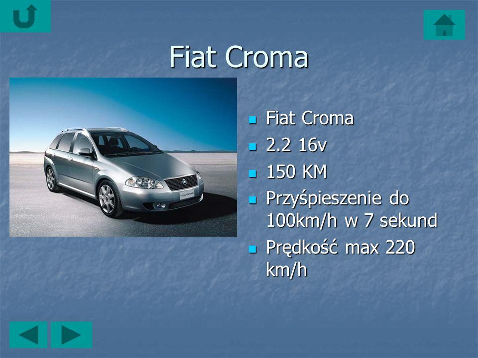 Fiat Croma Fiat Croma Fiat Croma 2.2 16v 2.2 16v 150 KM 150 KM Przyśpieszenie do 100km/h w 7 sekund Przyśpieszenie do 100km/h w 7 sekund Prędkość max 220 km/h Prędkość max 220 km/h