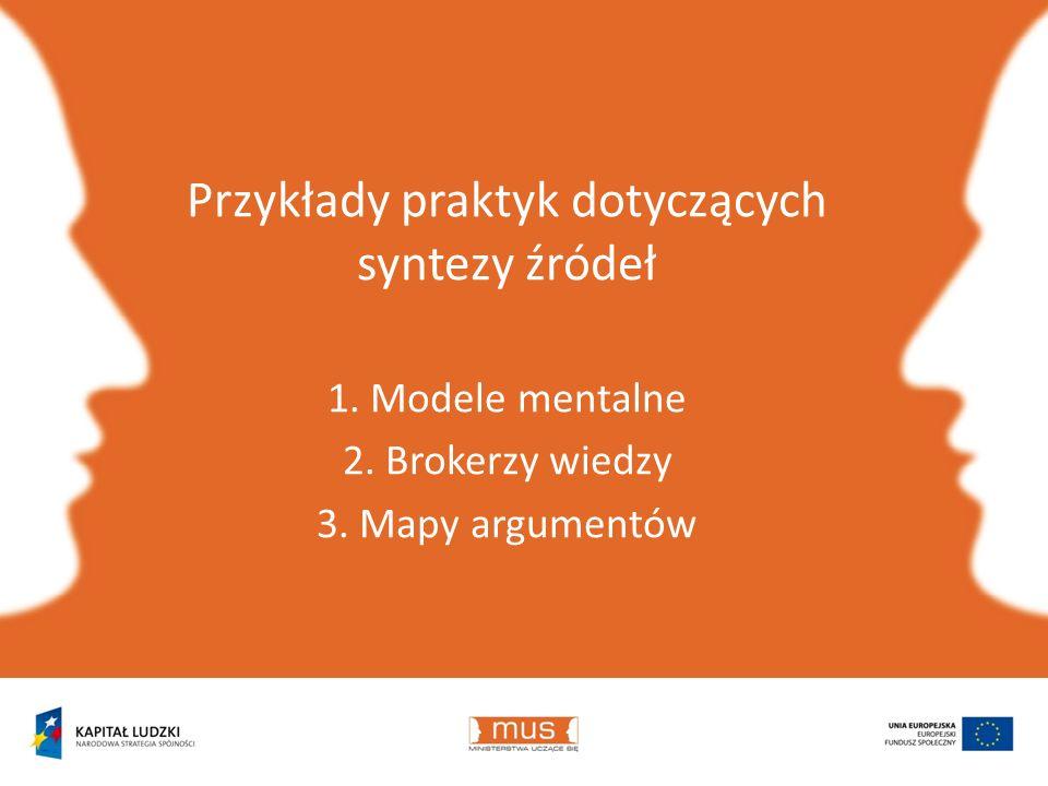 Przykłady praktyk dotyczących syntezy źródeł 1. Modele mentalne 2. Brokerzy wiedzy 3. Mapy argumentów