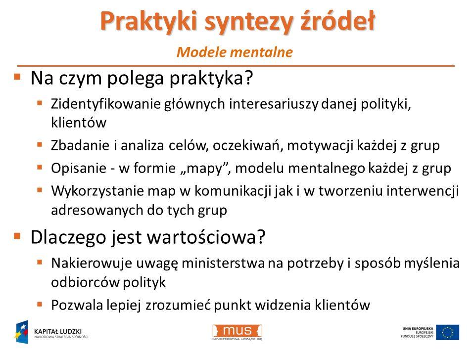 Praktyki syntezy źródeł Na czym polega praktyka? Zidentyfikowanie głównych interesariuszy danej polityki, klientów Zbadanie i analiza celów, oczekiwań