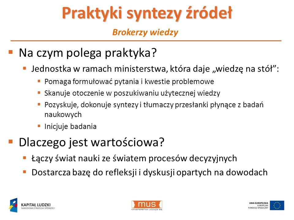 Praktyki syntezy źródeł Na czym polega praktyka? Jednostka w ramach ministerstwa, która daje wiedzę na stół: Pomaga formułować pytania i kwestie probl