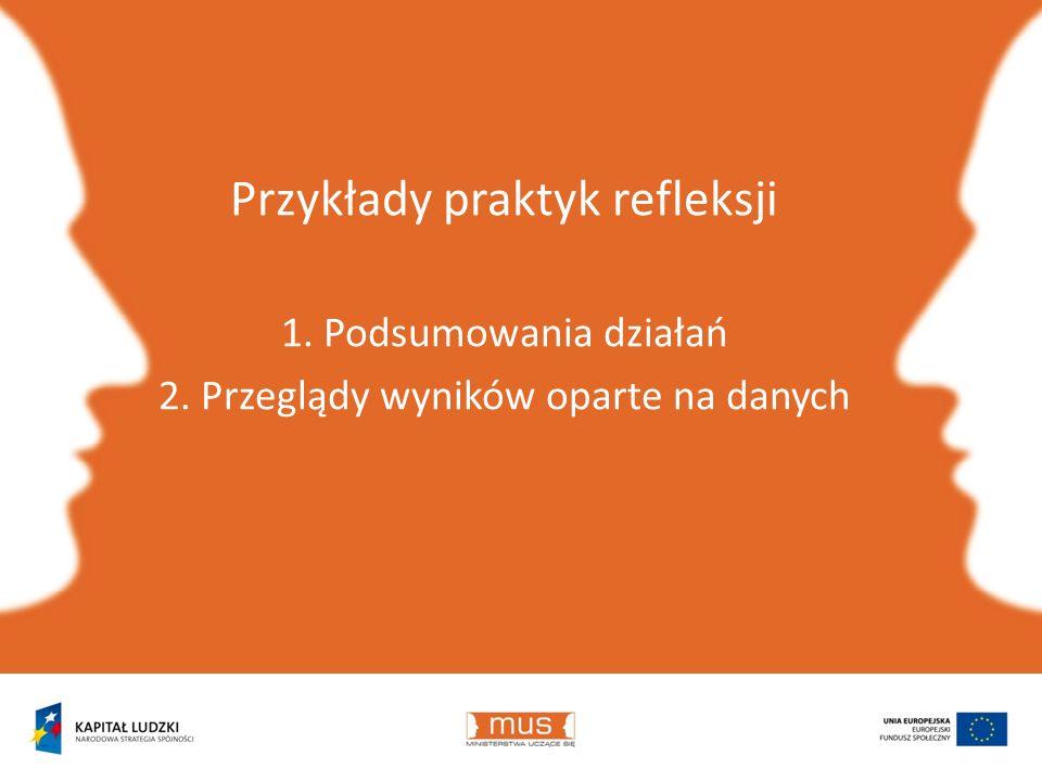 Przykłady praktyk refleksji 1. Podsumowania działań 2. Przeglądy wyników oparte na danych
