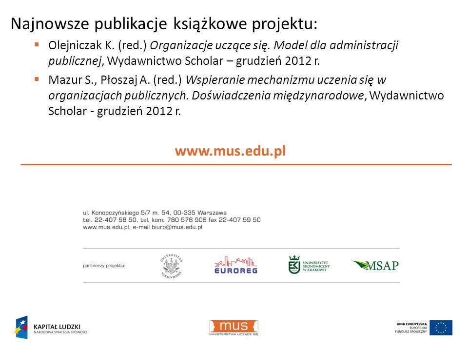 www.mus.edu.pl Najnowsze publikacje książkowe projektu: Olejniczak K. (red.) Organizacje uczące się. Model dla administracji publicznej, Wydawnictwo S