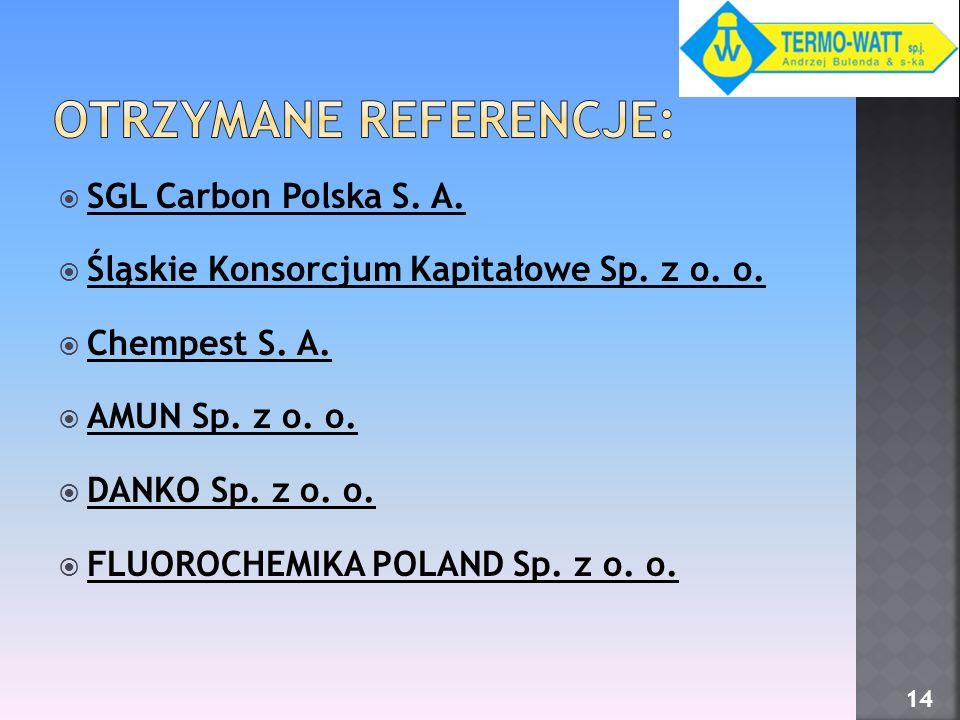 SGL Carbon Polska S. A. Śląskie Konsorcjum Kapitałowe Sp. z o. o. Chempest S. A. AMUN Sp. z o. o. DANKO Sp. z o. o. FLUOROCHEMIKA POLAND Sp. z o. o. 1