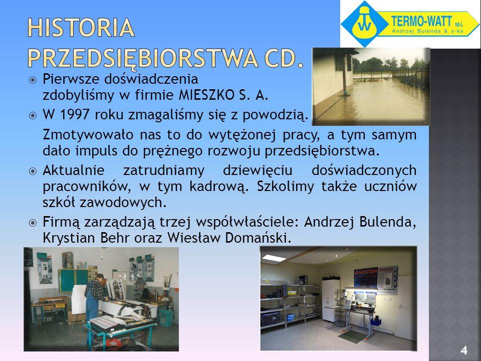 Pierwsze doświadczenia zdobyliśmy w firmie MIESZKO S. A. W 1997 roku zmagaliśmy się z powodzią. Zmotywowało nas to do wytężonej pracy, a tym samym dał