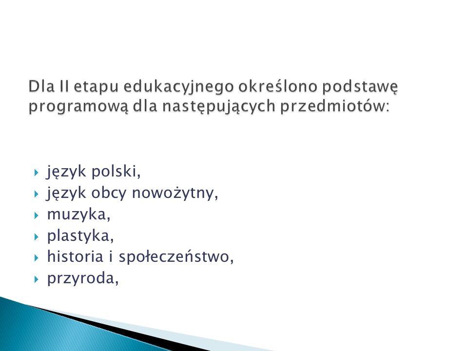 język polski, język obcy nowożytny, muzyka, plastyka, historia i społeczeństwo, przyroda,