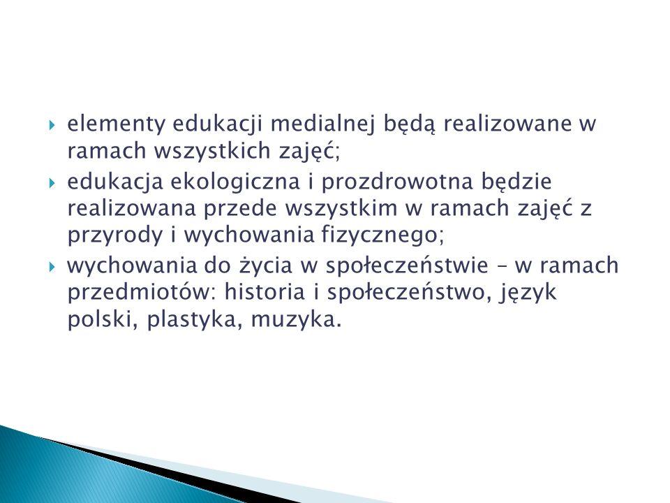 elementy edukacji medialnej będą realizowane w ramach wszystkich zajęć; edukacja ekologiczna i prozdrowotna będzie realizowana przede wszystkim w rama