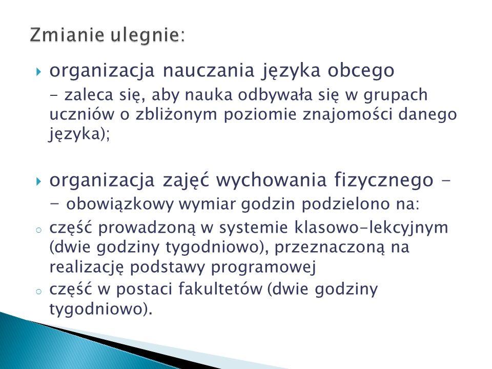 organizacja nauczania języka obcego - zaleca się, aby nauka odbywała się w grupach uczniów o zbliżonym poziomie znajomości danego języka); organizacja