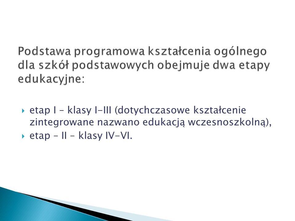 etap I – klasy I-III (dotychczasowe kształcenie zintegrowane nazwano edukacją wczesnoszkolną), etap – II – klasy IV-VI.