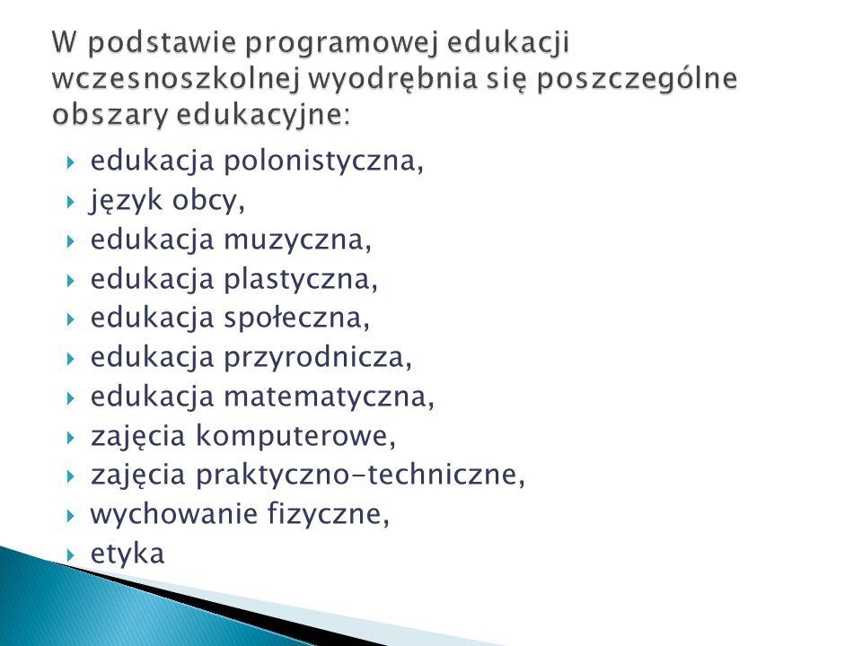 edukacja polonistyczna, język obcy, edukacja muzyczna, edukacja plastyczna, edukacja społeczna, edukacja przyrodnicza, edukacja matematyczna, zajęcia