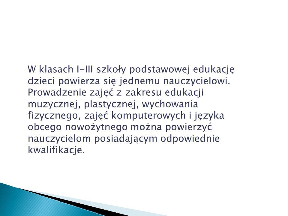 Edukacja w klasach I-III szkoły podstawowej realizowana jest w formie kształcenia zintegrowanego.