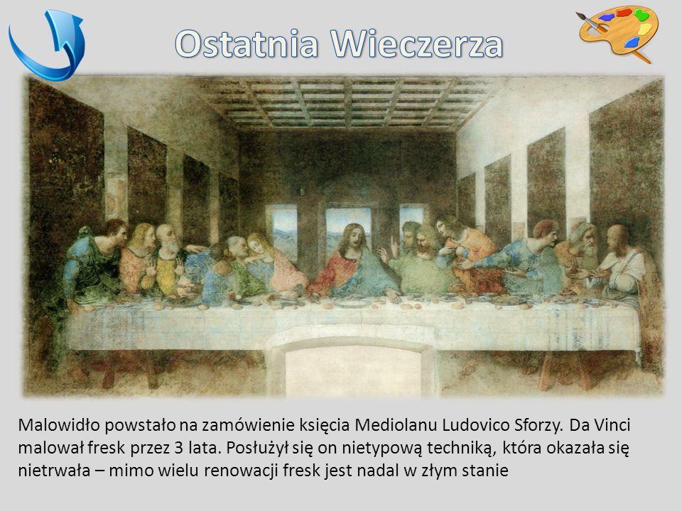 Malowidło powstało na zamówienie księcia Mediolanu Ludovico Sforzy. Da Vinci malował fresk przez 3 lata. Posłużył się on nietypową techniką, która oka