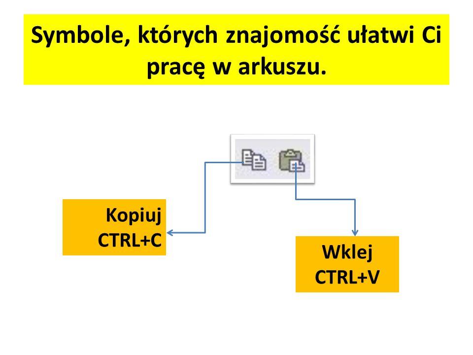 Symbole, których znajomość ułatwi Ci pracę w arkuszu. Kopiuj CTRL+C Wklej CTRL+V