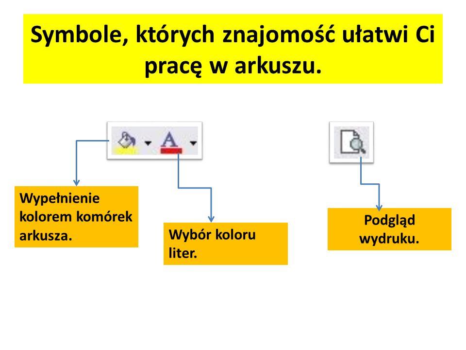 Symbole, których znajomość ułatwi Ci pracę w arkuszu. Wypełnienie kolorem komórek arkusza. Wybór koloru liter. Podgląd wydruku.