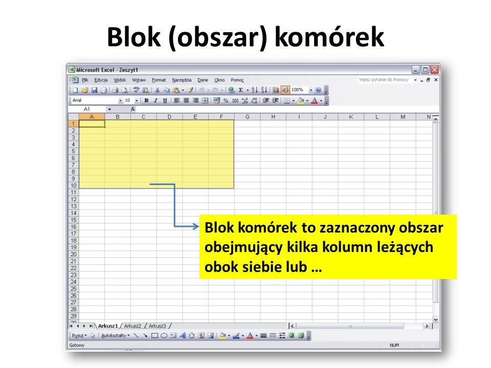 Blok (obszar) komórek Blok komórek to zaznaczony obszar obejmujący kilka kolumn leżących obok siebie lub …