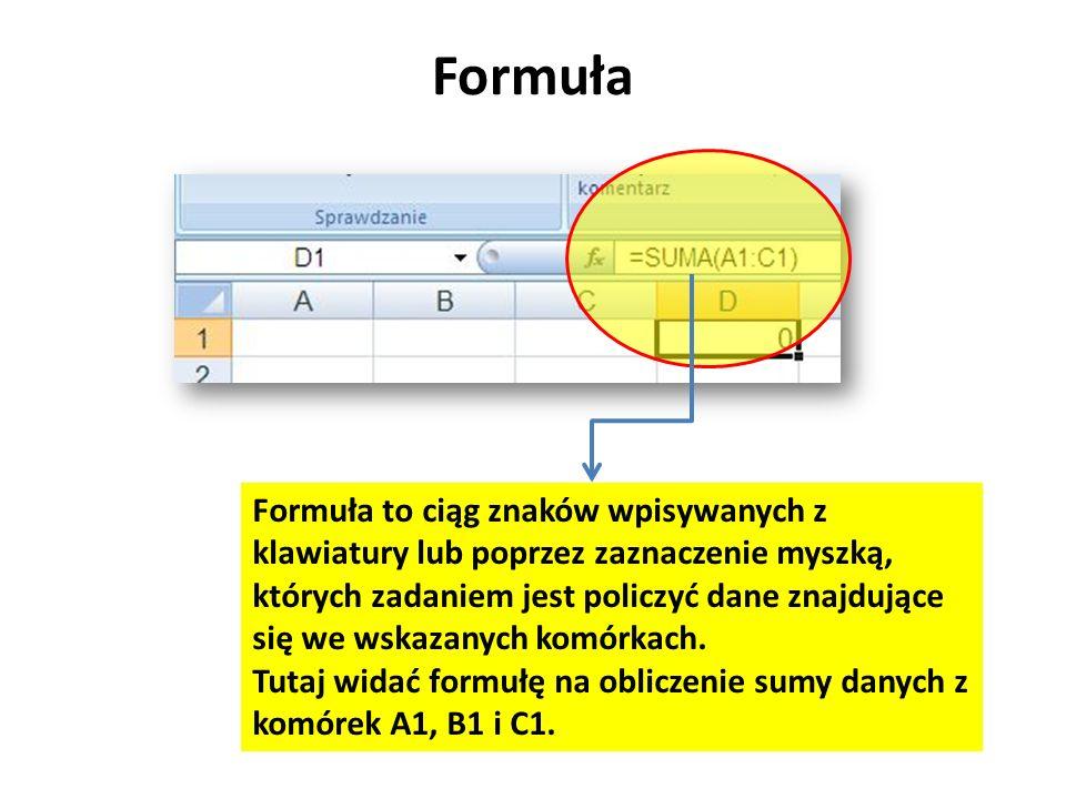 Formuła Formuła to ciąg znaków wpisywanych z klawiatury lub poprzez zaznaczenie myszką, których zadaniem jest policzyć dane znajdujące się we wskazany