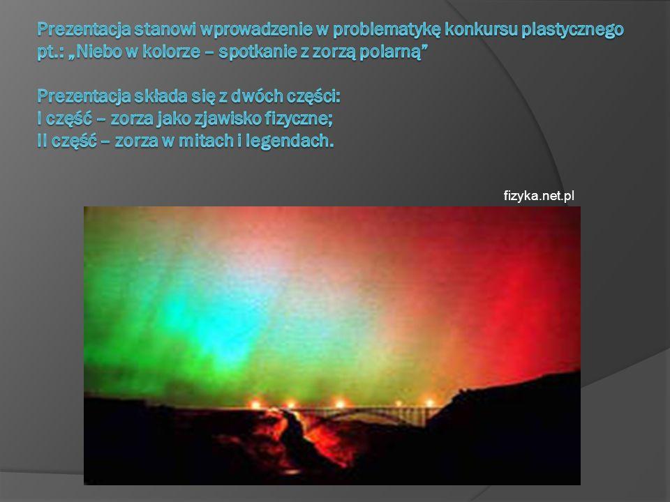 Zorza polarna Zorza polarna (Aurora borealis, aurora australis) zjawisko świetlne obserwowane na wysokich szerokościach geograficznych, występuje głównie za kołem podbiegunowym, chociaż w sprzyjających warunkach bywa widoczna nawet w okolicach 50-tego równoleżnika.