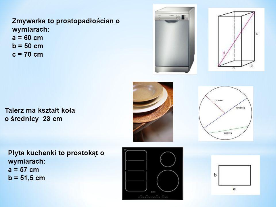 Zmywarka to prostopadłościan o wymiarach: a = 60 cm b = 50 cm c = 70 cm Talerz ma kształt koła o średnicy 23 cm Płyta kuchenki to prostokąt o wymiarac