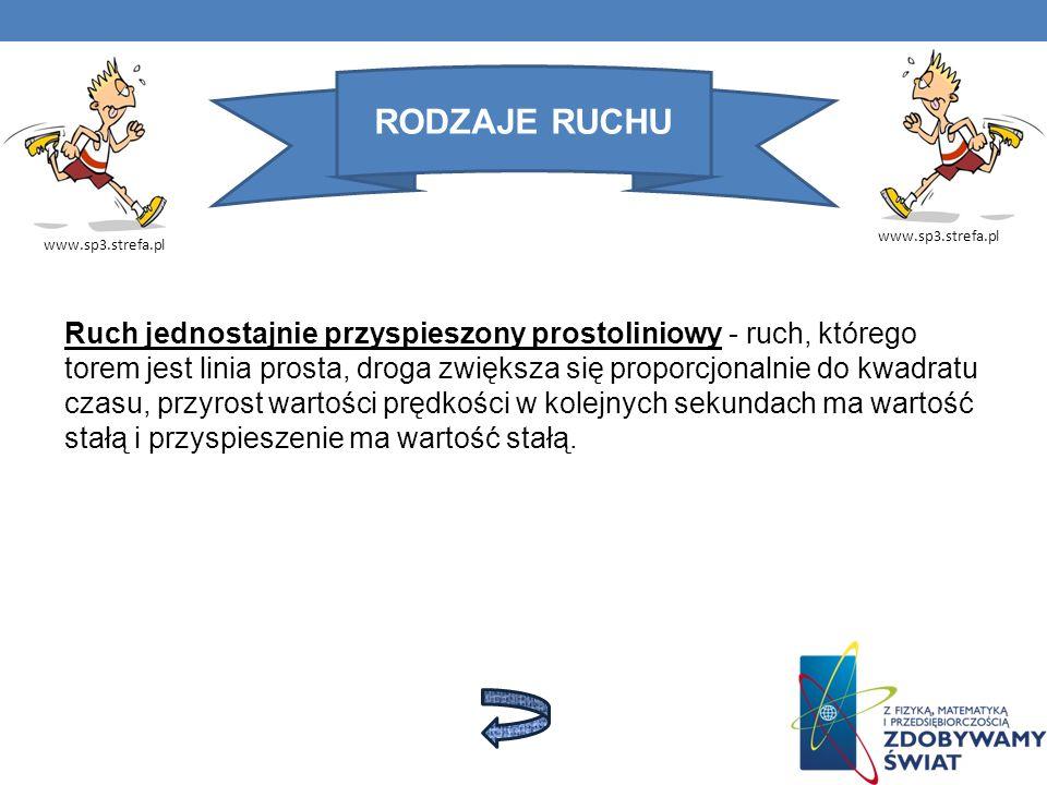 RODZAJE RUCHU www.sp3.strefa.pl Ruch jednostajnie przyspieszony prostoliniowy - ruch, którego torem jest linia prosta, droga zwiększa się proporcjonal