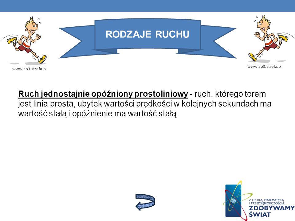 RODZAJE RUCHU www.sp3.strefa.pl Ruch jednostajnie opóźniony prostoliniowy - ruch, którego torem jest linia prosta, ubytek wartości prędkości w kolejny