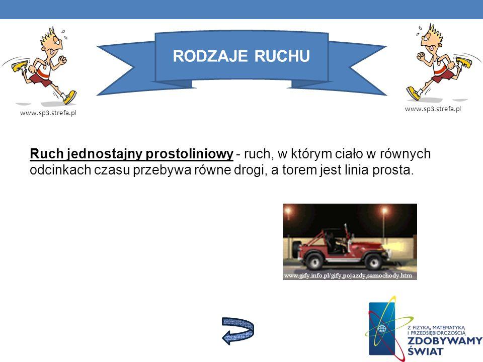 RODZAJE RUCHU www.sp3.strefa.pl Ruch jednostajny prostoliniowy - ruch, w którym ciało w równych odcinkach czasu przebywa równe drogi, a torem jest lin
