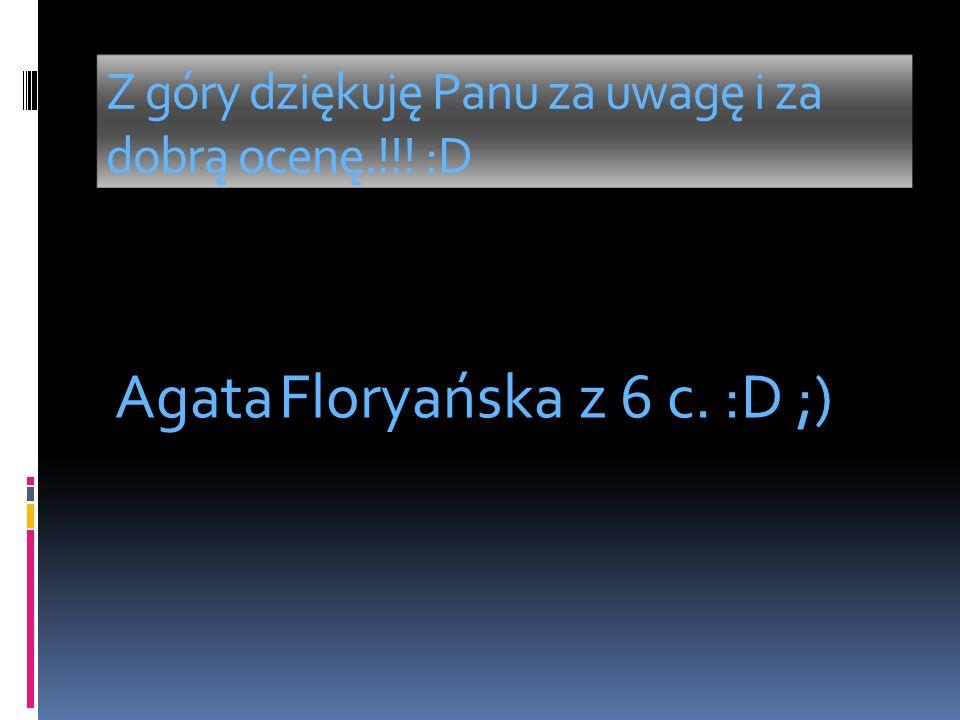 Z góry dziękuję Panu za uwagę i za dobrą ocenę.!!! :D Agata Floryańska z 6 c. :D ;)
