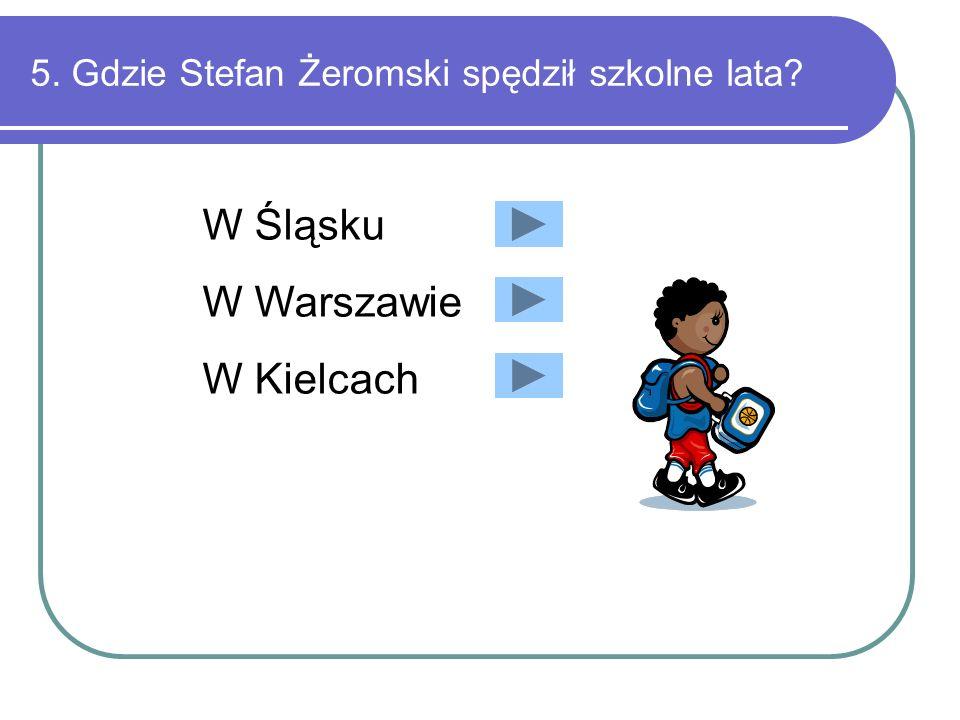 4. Z jakiego powody Stefan Żeromski nie dostał Nagrody Nobla? Zrezygnowania z konkursu podczas jego trwania Silnej choroby kampanii niemieckiej po opu