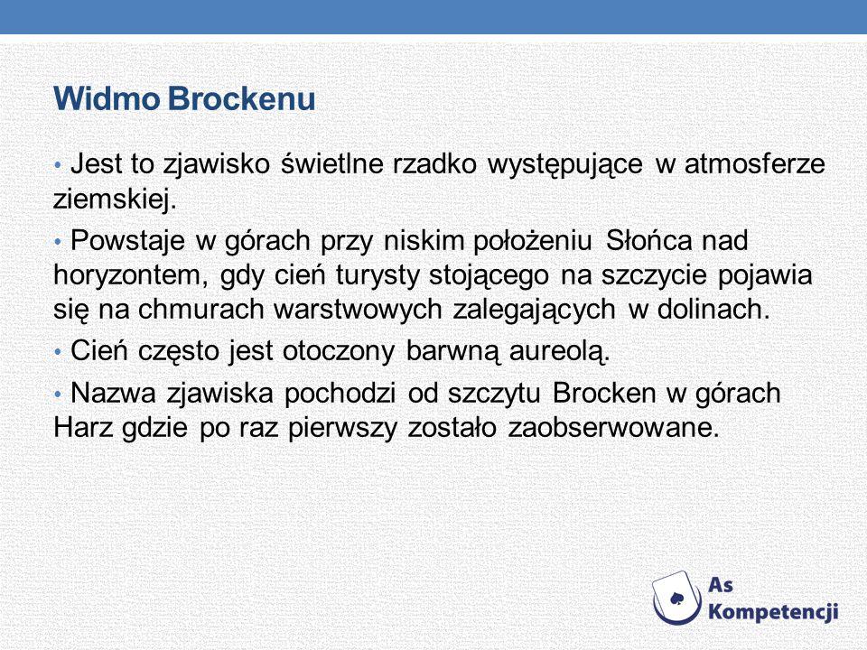 Widmo Brockenu Jest to zjawisko świetlne rzadko występujące w atmosferze ziemskiej. Powstaje w górach przy niskim położeniu Słońca nad horyzontem, gdy