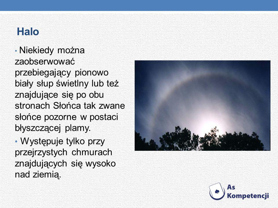 Halo Niekiedy można zaobserwować przebiegający pionowo biały słup świetlny lub też znajdujące się po obu stronach Słońca tak zwane słońce pozorne w po