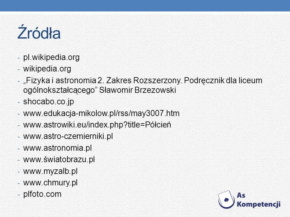 Źródła - pl.wikipedia.org - wikipedia.org - Fizyka i astronomia 2. Zakres Rozszerzony. Podręcznik dla liceum ogólnokształcącego Sławomir Brzezowski -