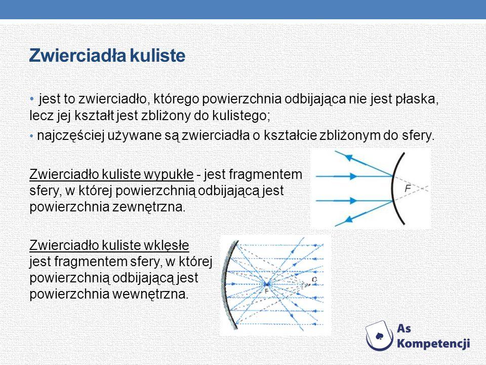 Zwierciadła kuliste jest to zwierciadło, którego powierzchnia odbijająca nie jest płaska, lecz jej kształt jest zbliżony do kulistego; najczęściej uży