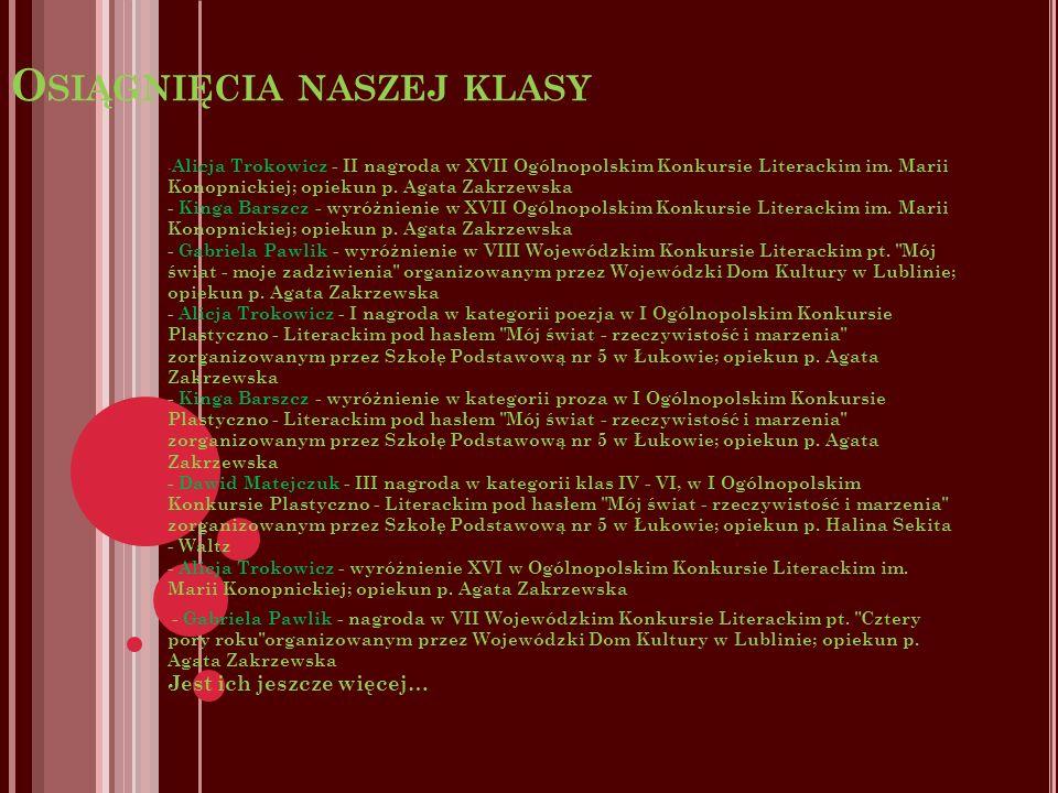 O SIĄGNIĘCIA NASZEJ KLASY - Alicja Trokowicz - II nagroda w XVII Ogólnopolskim Konkursie Literackim im.