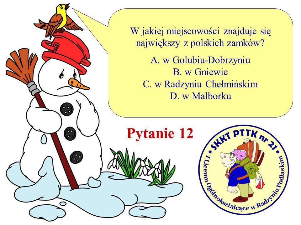 W jakiej miejscowości znajduje się największy z polskich zamków? A. w Golubiu-Dobrzyniu B. w Gniewie C. w Radzyniu Chełmińskim D. w Malborku Pytanie 1