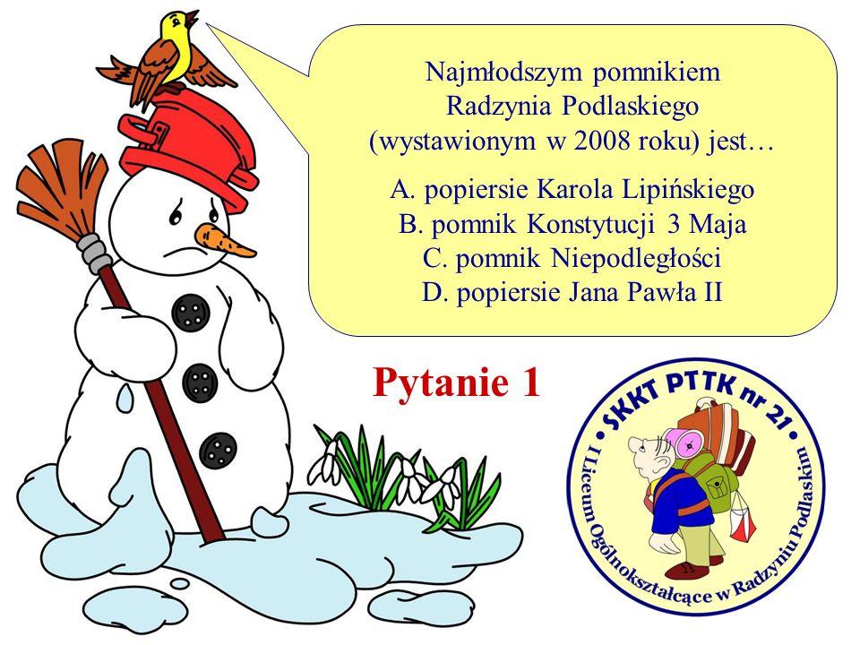 Najmłodszym pomnikiem Radzynia Podlaskiego (wystawionym w 2008 roku) jest… A. popiersie Karola Lipińskiego B. pomnik Konstytucji 3 Maja C. pomnik Niep