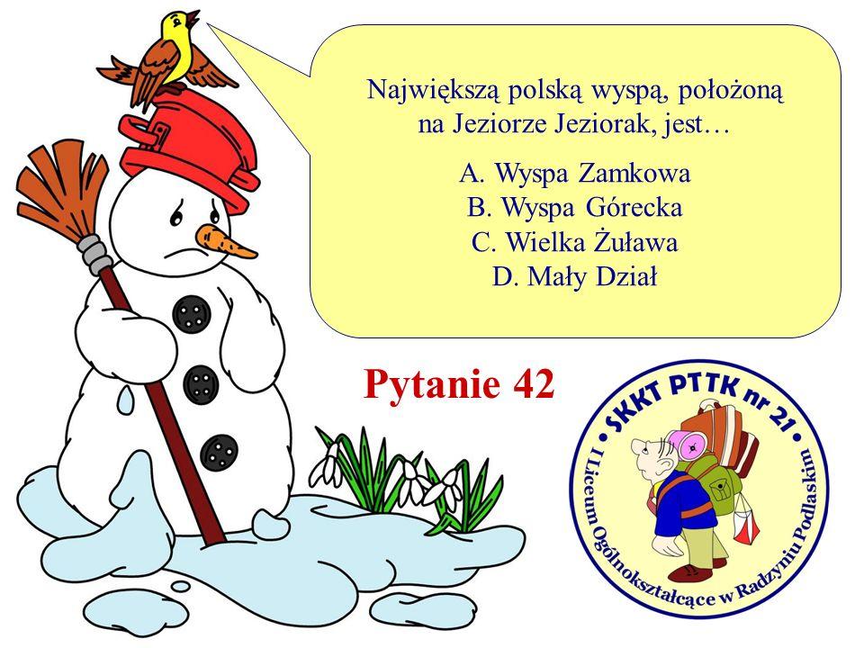 Największą polską wyspą, położoną na Jeziorze Jeziorak, jest… A. Wyspa Zamkowa B. Wyspa Górecka C. Wielka Żuława D. Mały Dział Pytanie 42