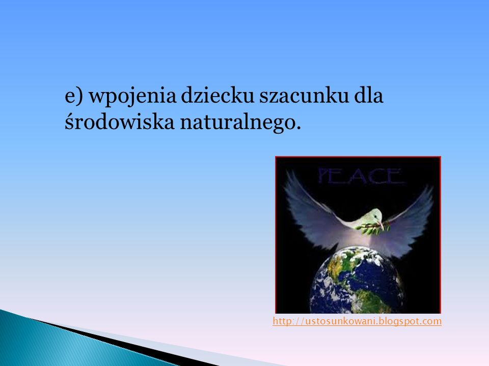 e) wpojenia dziecku szacunku dla środowiska naturalnego. http://ustosunkowani.blogspot.com
