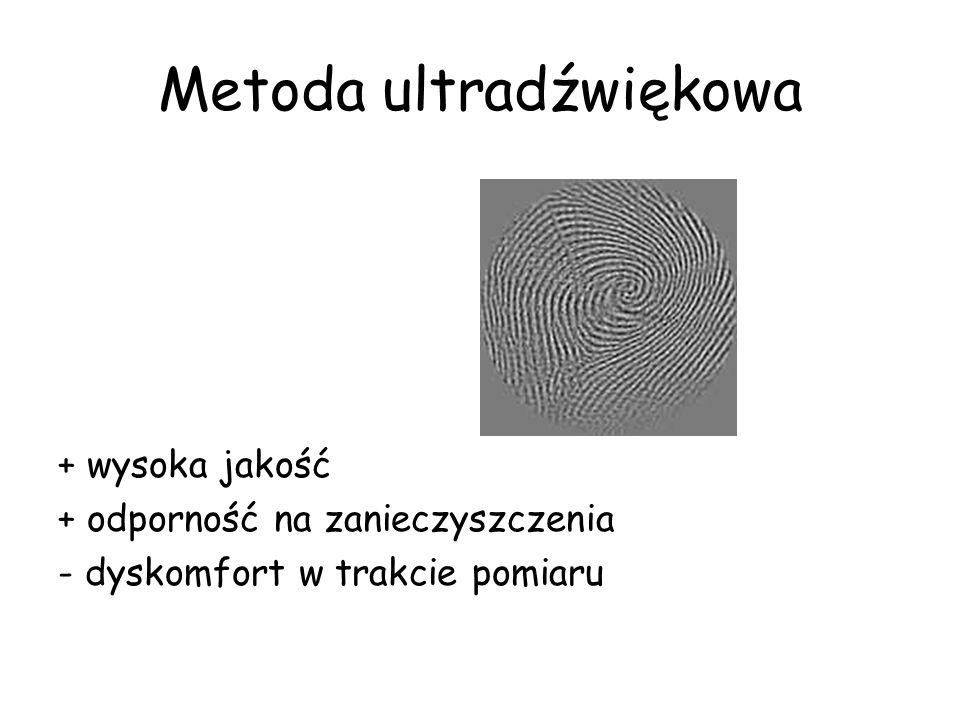 Metoda ultradźwiękowa + wysoka jakość + odporność na zanieczyszczenia - dyskomfort w trakcie pomiaru