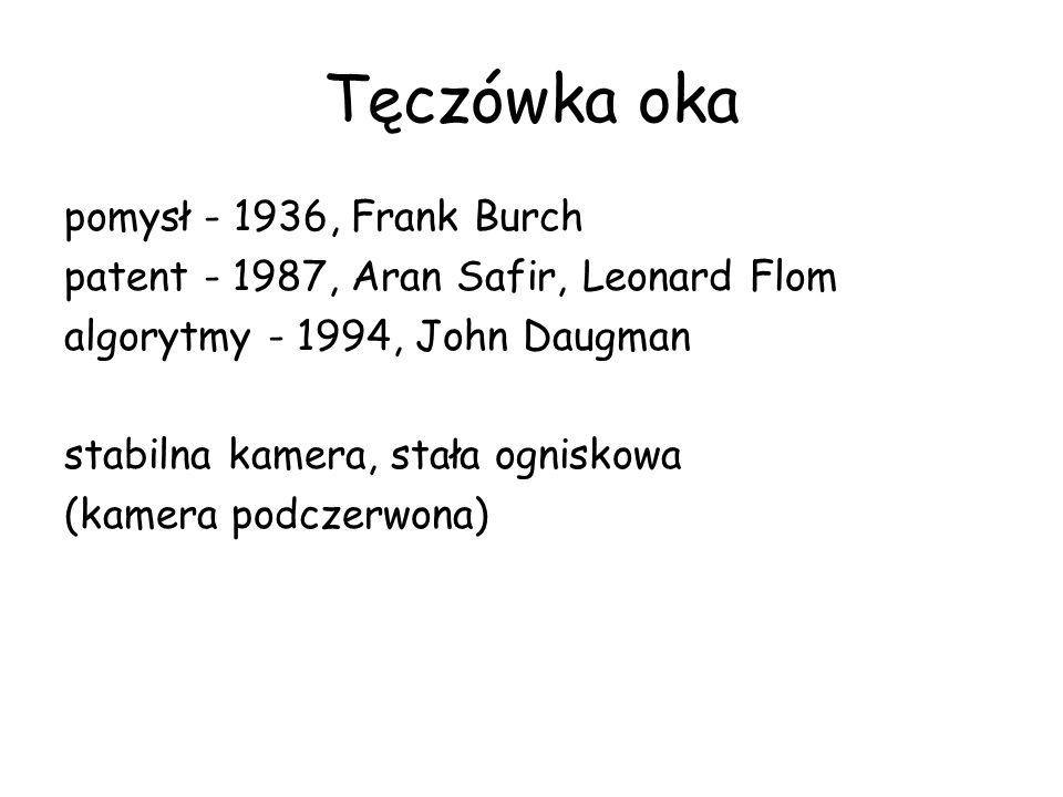 Tęczówka oka pomysł - 1936, Frank Burch patent - 1987, Aran Safir, Leonard Flom algorytmy - 1994, John Daugman stabilna kamera, stała ogniskowa (kamera podczerwona)