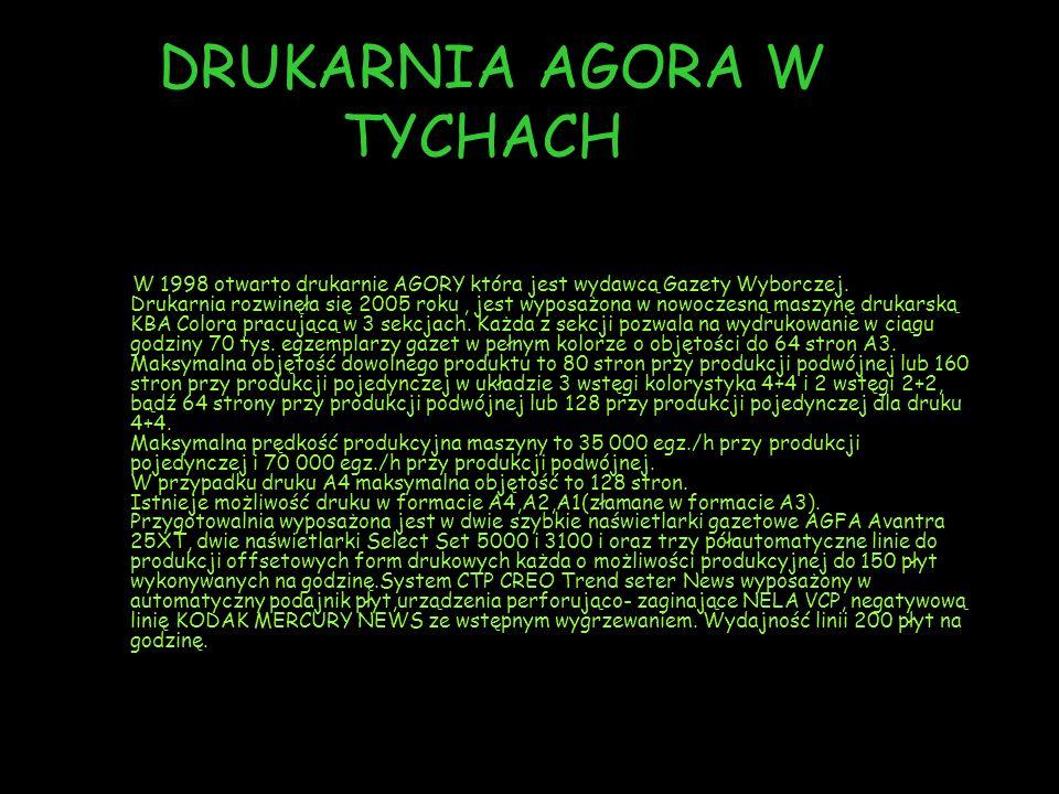 DRUKARNIA AGORA W TYCHACH W 1998 otwarto drukarnie AGORY która jest wydawcą Gazety Wyborczej.