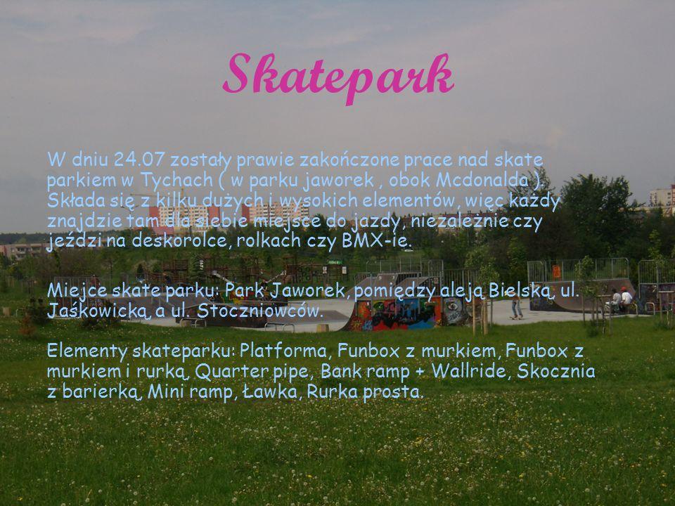 Skatepark W dniu 24.07 zostały prawie zakończone prace nad skate parkiem w Tychach ( w parku jaworek, obok Mcdonalda ).