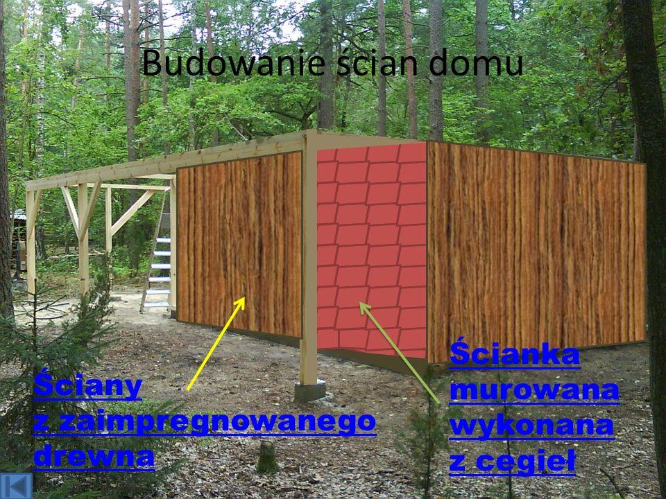 Budowanie ścian domu Ściany z zaimpregnowanego drewna Ścianka murowana wykonana z cegieł
