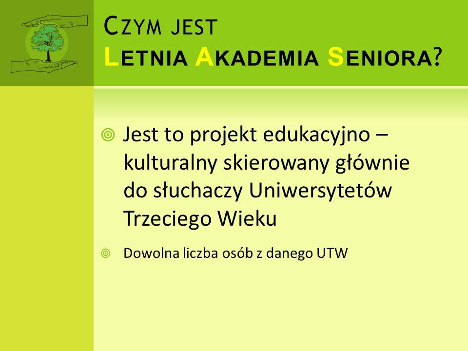 Promocja postawy aktywnego seniora Eliminacja wykluczenia kulturalnego i edukacyjnego seniorów Stworzenie szansy poznania kultury Krakowa i okolic z perspektywy osoby późnego lata i jesieni życia C ELE L ETNIEJ A KADEMII S ENIORA