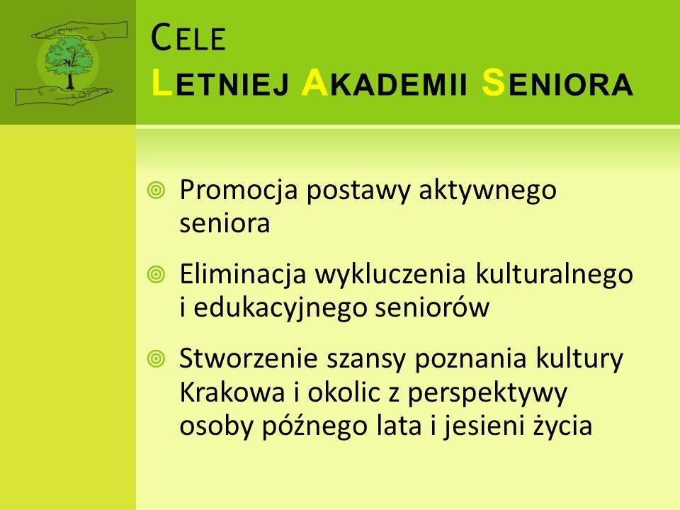 Promocja postawy aktywnego seniora Eliminacja wykluczenia kulturalnego i edukacyjnego seniorów Stworzenie szansy poznania kultury Krakowa i okolic z p