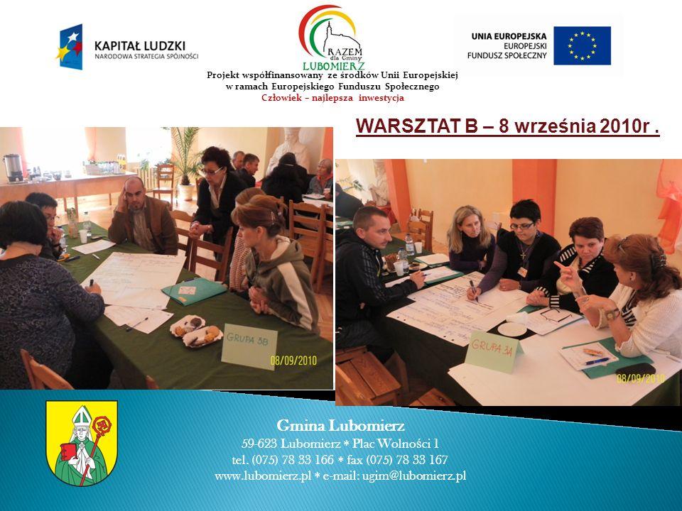 WARSZTAT B – 8 września 2010r. Gmina Lubomierz 59-623 Lubomierz Plac Wolno ś ci 1 tel.