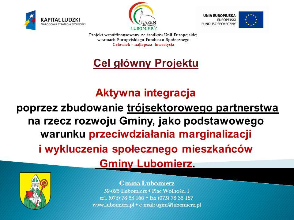 Cel główny Projektu Aktywna integracja poprzez zbudowanie trójsektorowego partnerstwa na rzecz rozwoju Gminy, jako podstawowego warunku przeciwdziałania marginalizacji i wykluczenia społecznego mieszkańców Gminy Lubomierz.
