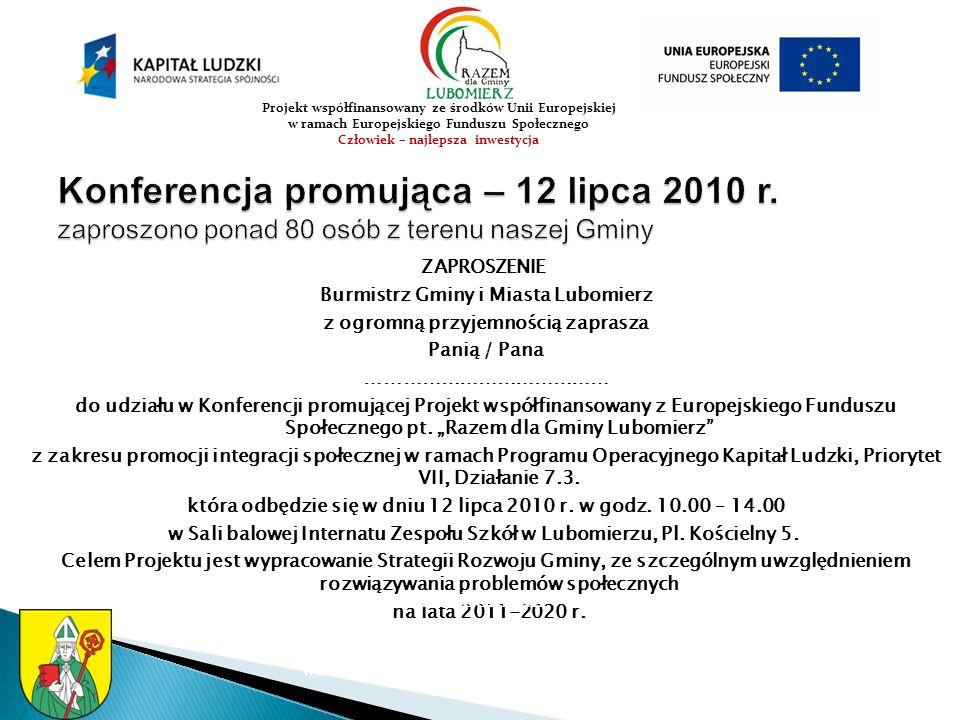 WARSZTAT B – 8 września 2010r.Gmina Lubomierz 59-623 Lubomierz Plac Wolno ś ci 1 tel.