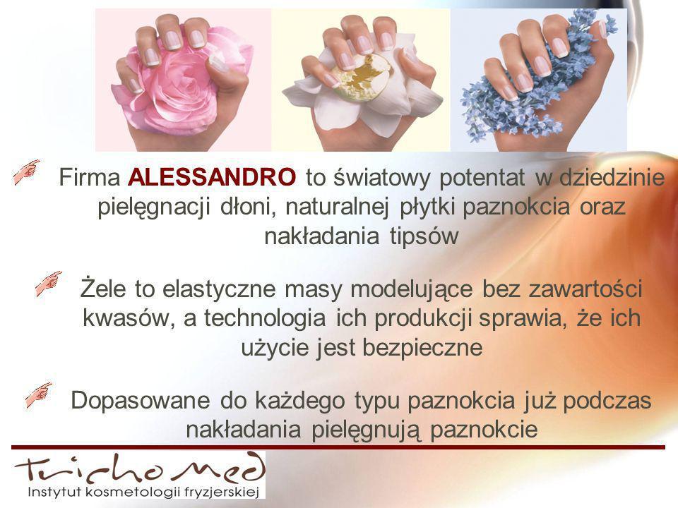 Firma ALESSANDRO to światowy potentat w dziedzinie pielęgnacji dłoni, naturalnej płytki paznokcia oraz nakładania tipsów Żele to elastyczne masy model