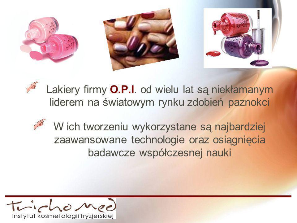 Lakiery firmy O.P.I. od wielu lat są niekłamanym liderem na światowym rynku zdobień paznokci W ich tworzeniu wykorzystane są najbardziej zaawansowane