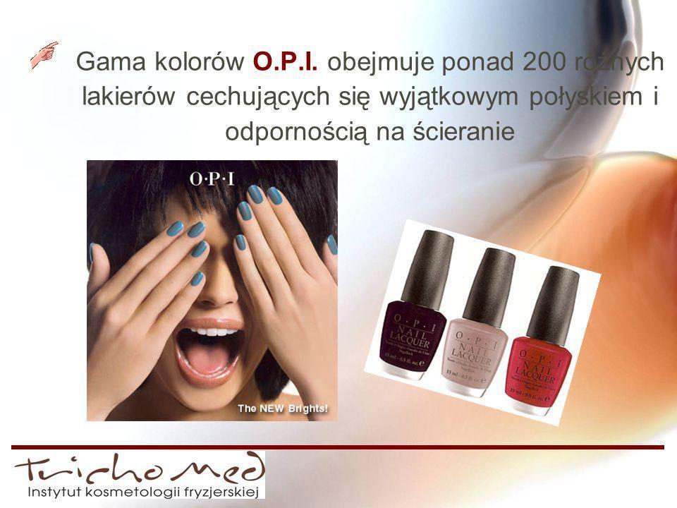 Gama kolorów O.P.I. obejmuje ponad 200 różnych lakierów cechujących się wyjątkowym połyskiem i odpornością na ścieranie