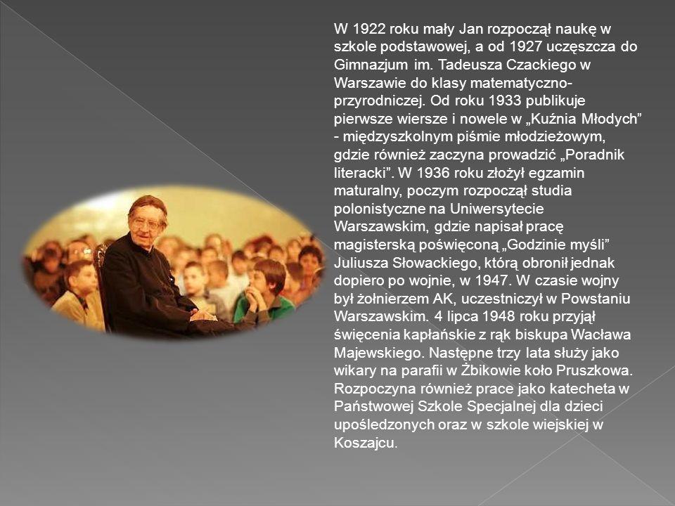 Jan Twardowski urodził się 1 czerwca 1915 roku w Warszawie. Ojciec poety, pracował jako rachmistrz i mechanik na kolei. Natomiast matka Twardowskiego,